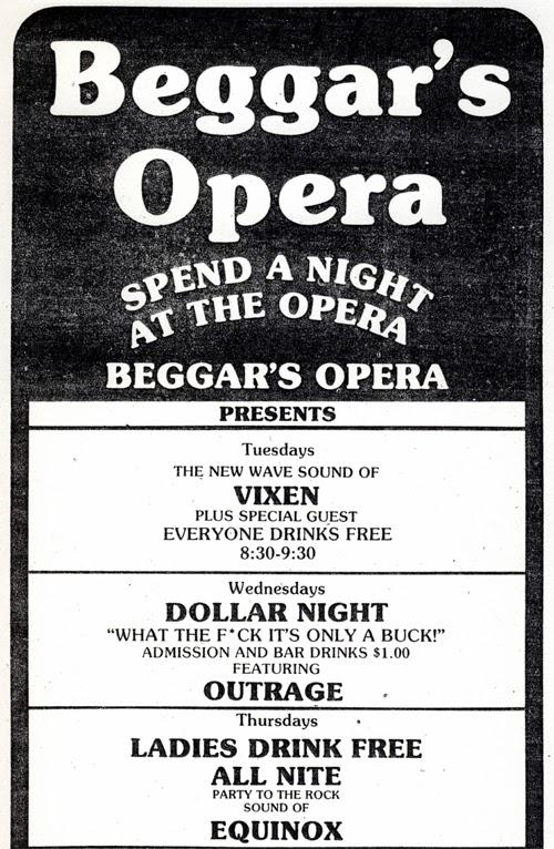 Beggar's Opera club Queens, New York ad
