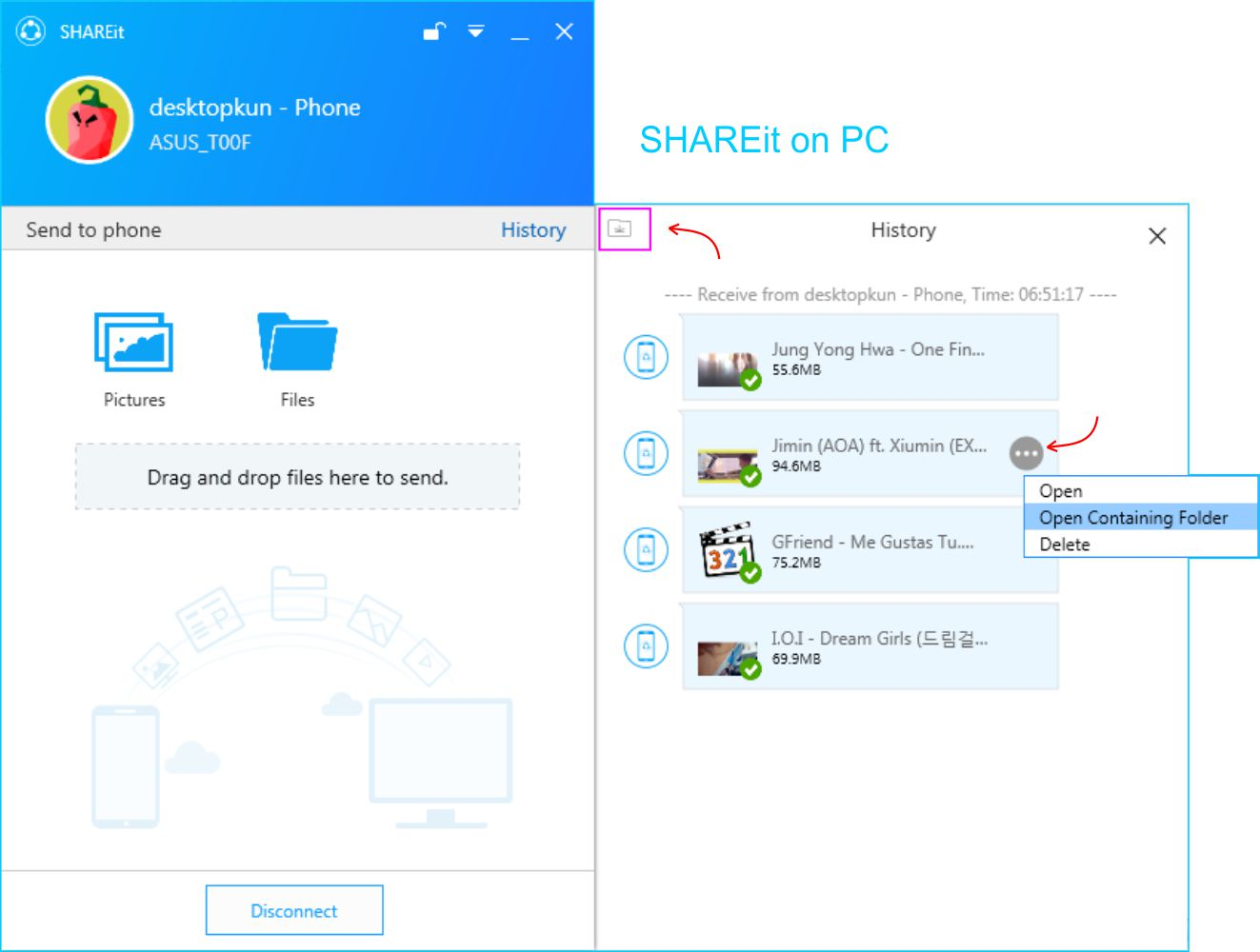 SHAREit - Cari Folder Penyimpanan File Yang Telah Dikirim