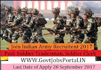 Join Indian Army Recruitment 2017– Soldier Tradesman, Soldier Nursing Assistant & Soldier Clerk/ Store Keeper Technical