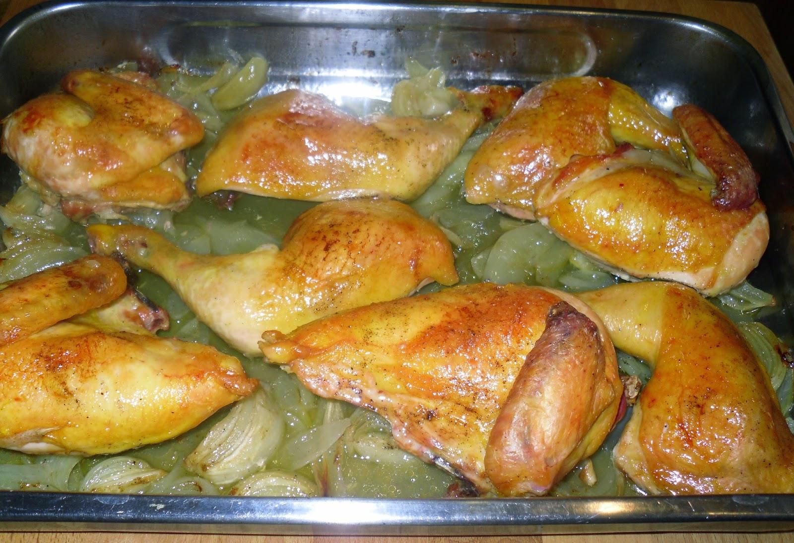 Recetas de mi madre y mias pollo al horno con cebollas for Cocinar a 90 grados
