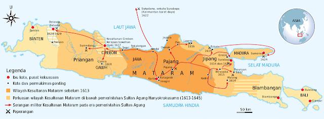 Cakupan terluas Kesultanan Mataram dalam masa pemerintahan Sultan Agung Hanyokrokusumo (1613-1645)