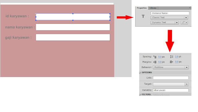 membuat teks area dengan menggunakan Teks tool (T) dengan tipe teksnya adalah Dynamic Text