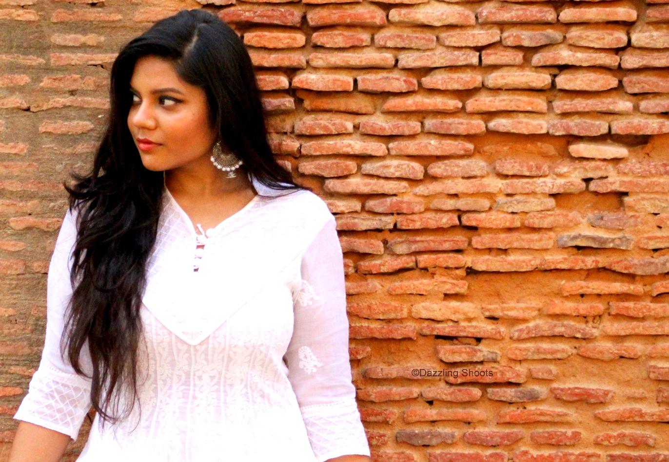 Chikan White Anarkali