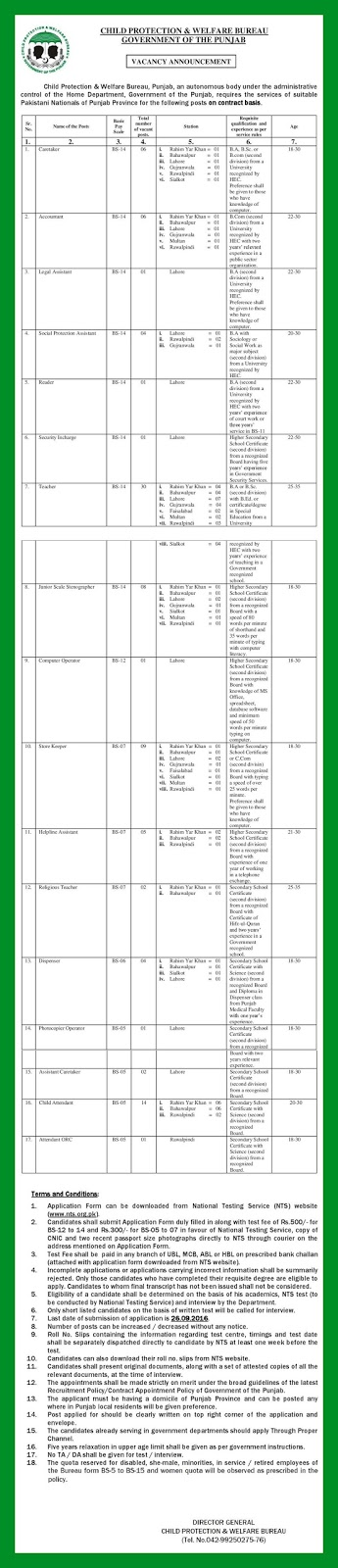 Jobs in Child Protection Bureau 2016