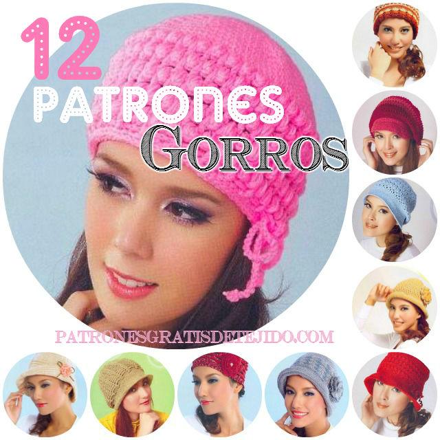 12 Patrones de Gorros Crochet  cb2801cec23