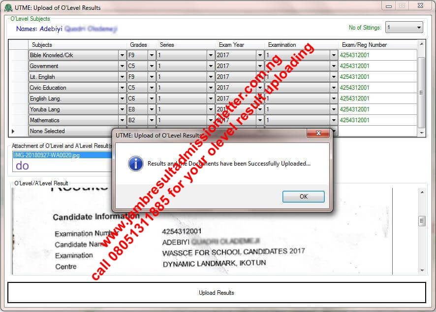Image of JAMB WAEC Result Upload Confirmation Sample | What is Jamb