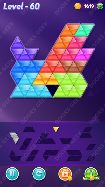 Block! Triangle Puzzle 12 Mania Level 60 Solution, Cheats, Walkthrough for Android, iPhone, iPad and iPod