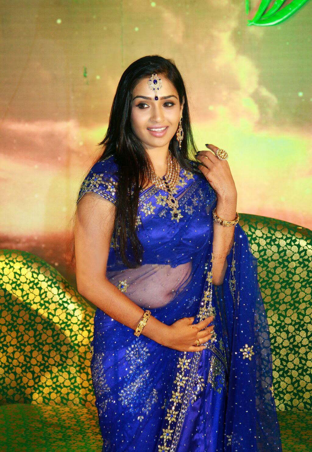 Transparent Saree: Actress Vidya Hot Navel In Transparent Saree Blue Saree