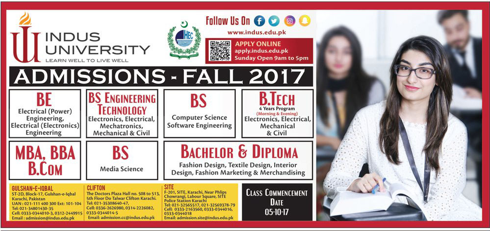 Admission Open in Indus University Karachi - 2017