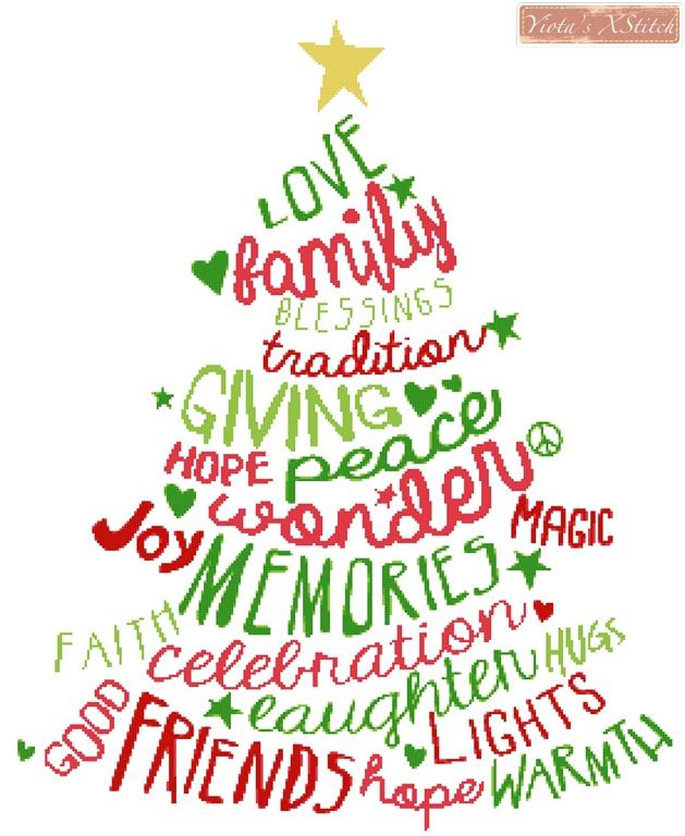 Yiota\u0027s Cross Stitch Words in cross stitch kits - christmas tree words