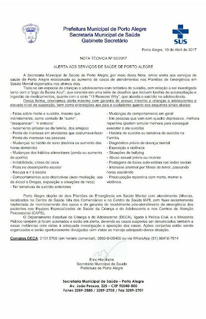 """URGENTE: Secretaria de Saúde emite alerta sobre o """"jogo"""" Baleia Azul, em Porto Alegre"""