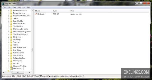 cara menghapus icon panah di desktop