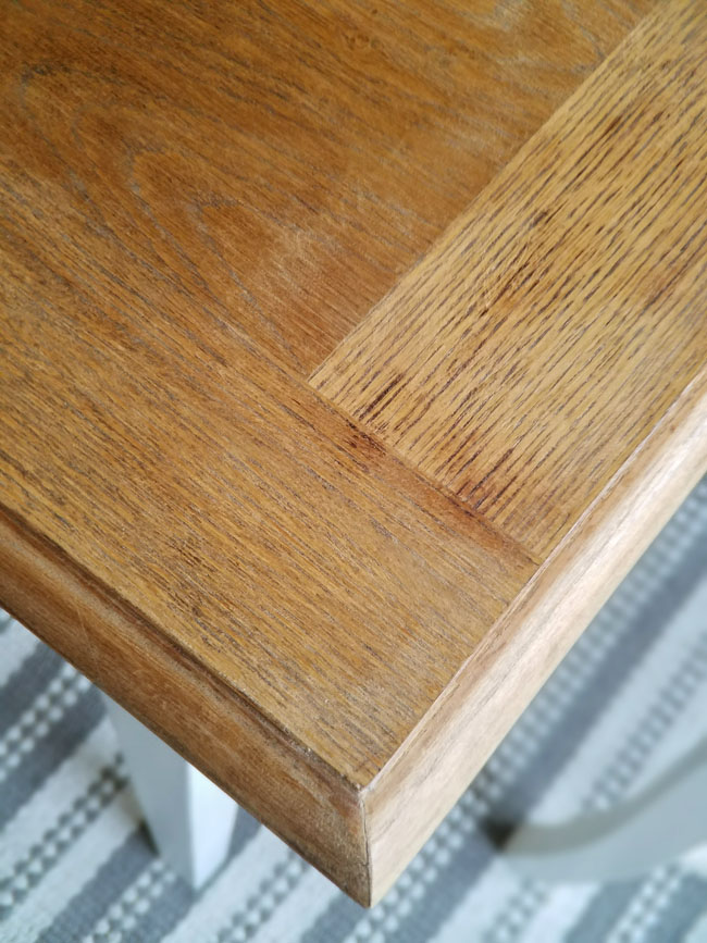 wooden table cleaned with Citristrip