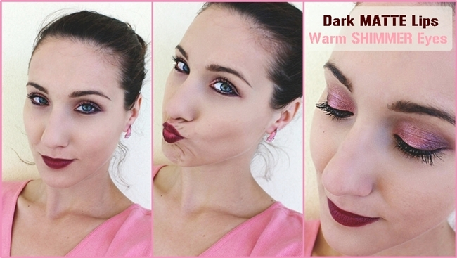 Warm SHIMMER Eyes, Dark MATTE Lips makeup video tutorial