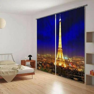 3D bedroom curtains with city image