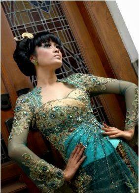 model kebaya pengantin hijau tosca modern terbaru