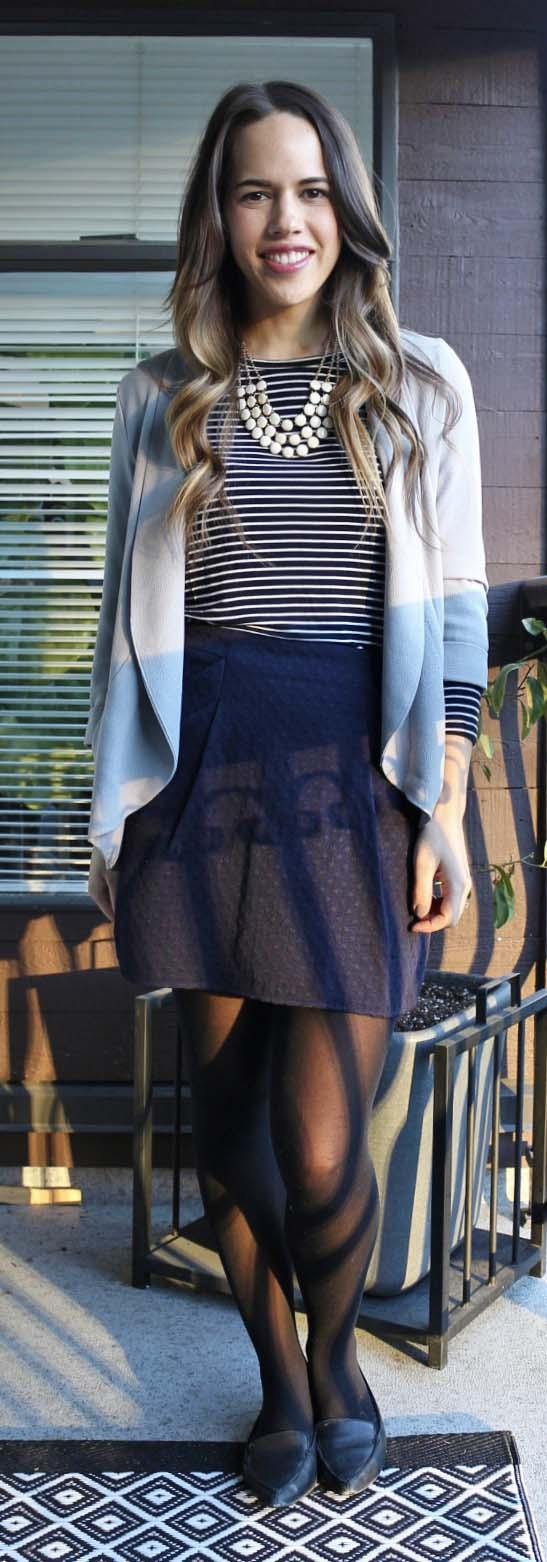 Jules in Flats - Striped Top, Navy Mini Skirt, Grey Drapey Blazer, Aldo Bazovica Flats