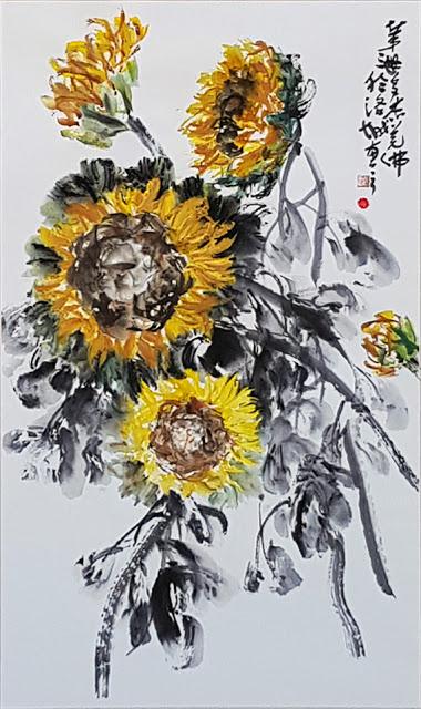 第三世多傑羌佛水墨作品《向日葵》