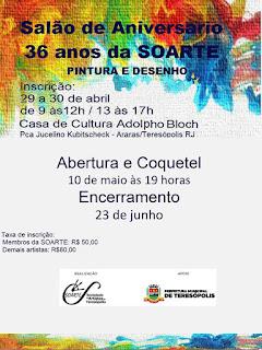 36 anos da SOARTE com exposição de aniversário na Casa de Cultura de Teresópolis