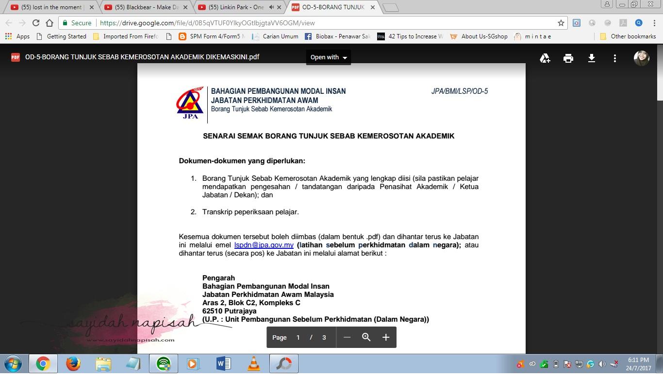 Senarai Semak Borang Tunjuk Sebab Kemerosotan Akademik JPA