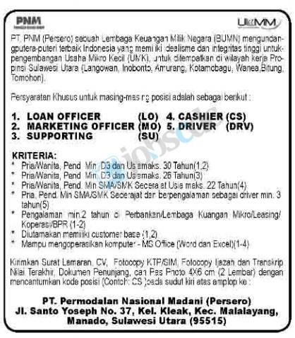 Rekrutmen Pt Permodalan Nasional Madani Persero Lowongan Kerja Bumn Pt Pnm Sulawesi Utara Februari 2013 Untuk Slta Smk D3 Rekrutmen Lowongan Kerja Bulan Februari 2021