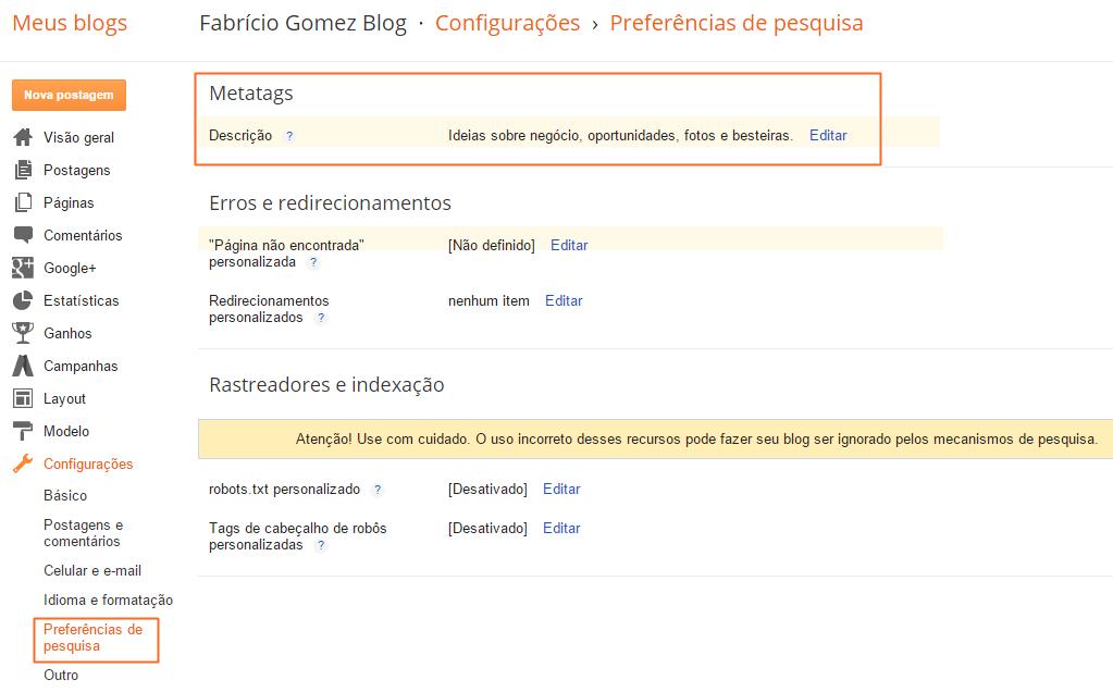 ativando as metatags e descrição de pesquisas no Blogger