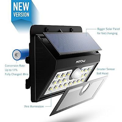 Foco Solar Luz Solar Lampara Mpow 20 Led 1500mAh con Sensor de Movimiento para Exterior Jardín, Patio,Terraza, Escaleras, Camino de entrada, Iluminación y Seguridad de Exterior