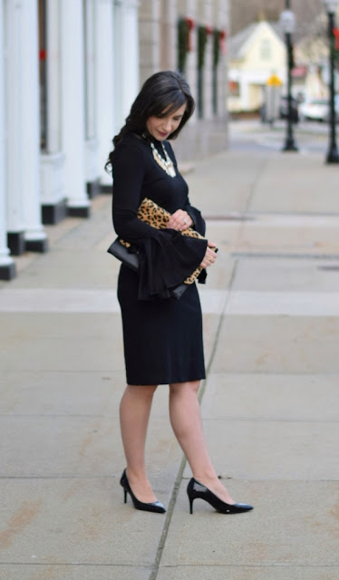 Black Pencil Skirt with Bell Sleeves for Formal Winter outfit