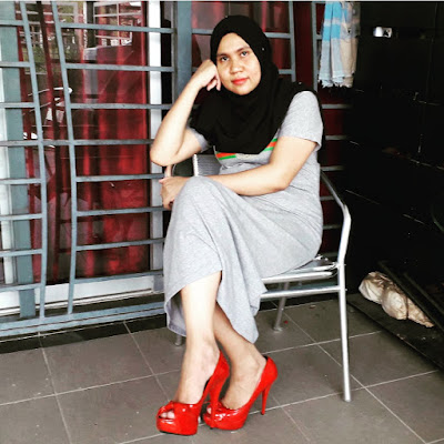Qiya beauty, yoga, workout, cara ransang kadar metabolisma badan, fitness journey, postnatal yoga and workout, red color high heels, eatclean,