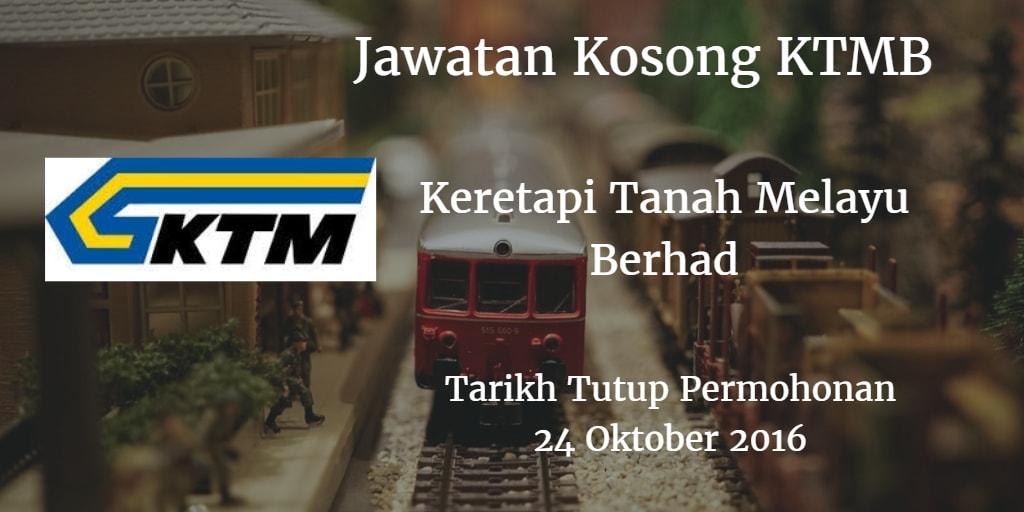 Jawatan Kosong KTMB 24 Oktober 2016