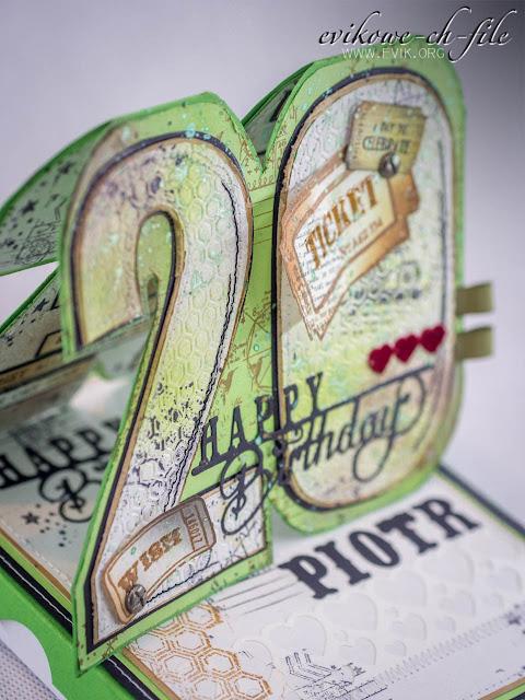 Bo bunny stamps, Tim Holtz dies alphabet, Prima stamps,  Ewa Jarlińśka, Birthday card, Evik, Glimmer mist