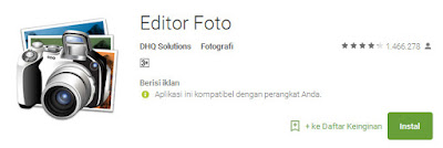 Aplikasi Edit Foto Android Gratis Paling Banyak di Download 2017