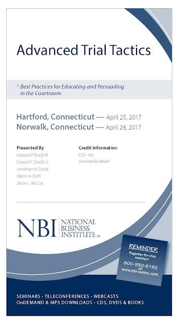 Jason L. McCoy, Vernon Connecticut  Advanced Trial Tactics - Hartford, Connecticut — April 25, 2017