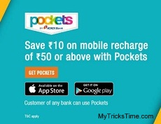 Get Rs.10 Off On Recharge Of Rs.50 and Above via ICICI Pockets