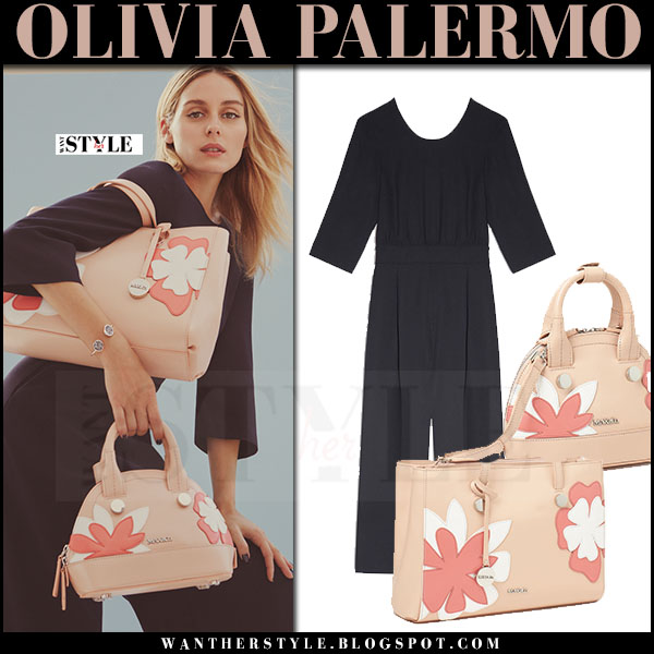 Olivia Palermo in navy jumpsuit with pink flower application bag Max&Co spring 2017 what she wore