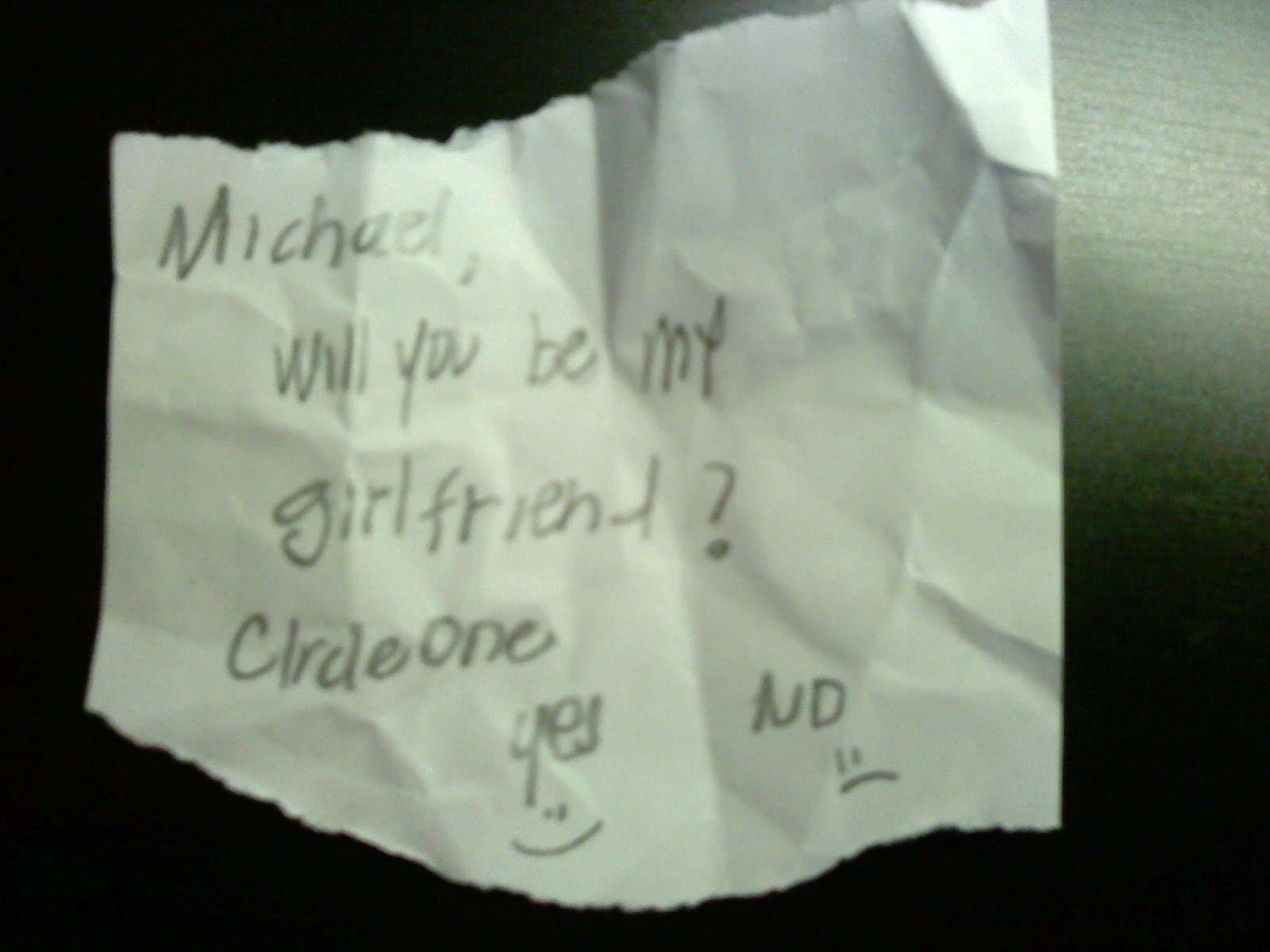 ALEXIS: Will you be my girlfriend note