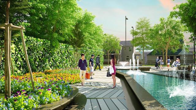 Không gian xanh mát tại Louis City Tân Mai