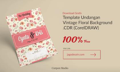 Template Undangan Vintage Floral Pattern CDR