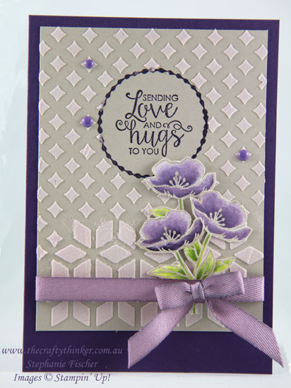 Eclectic Layers, Birthday Blooms, Embossing Paste, Pattern Party masks, #thecraftythinker, Stampin Up Australia Demonstrator, Stephanie Fischer, Sydney NSW