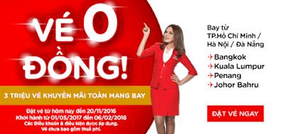 tin hot Air Asia khuyến mãi vé máy bay 0 đồng