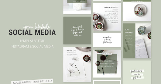 Green lifestyle Social Media templates for Instagram Bloggers
