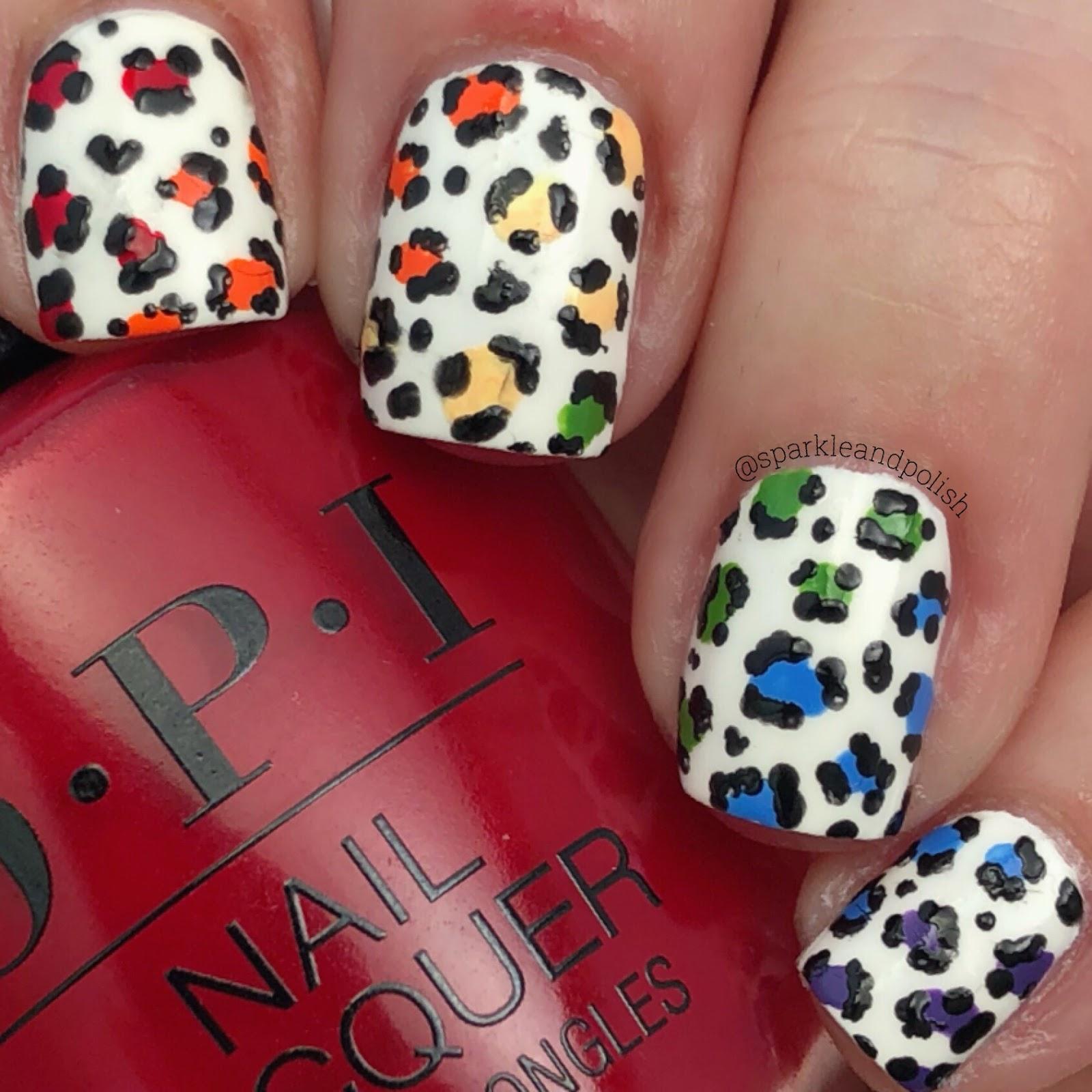 A Little Sparkle and Polish: Rainbow Leopard Print OPI Nail Art