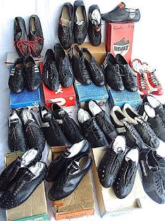 Collection de chaussures cyclistes vintage avec leurs boîtes, Turino, Rivat, Adidas