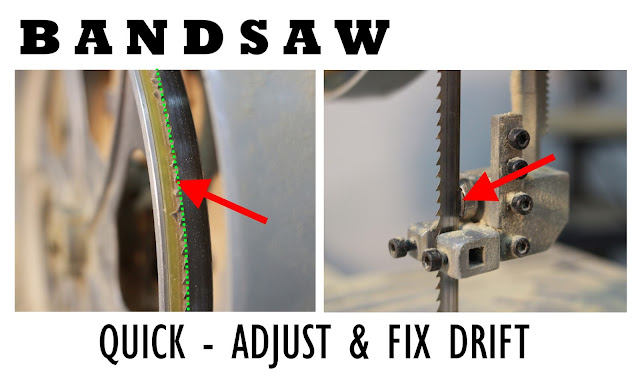 adjust bandsaw drift, band saw