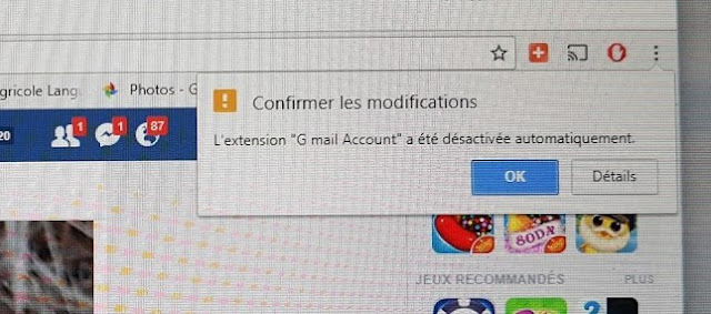 "message confirmer les modifications l'extension "" gmail account"