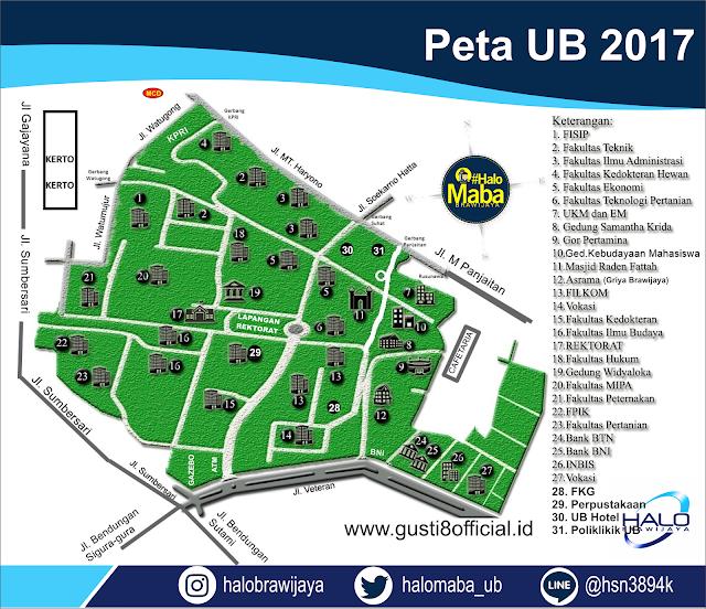 Peta Universitas Brawijaya (UB) Malang