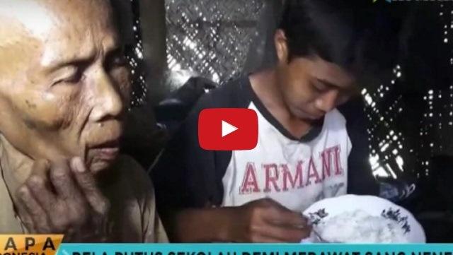 Video - Luar Biasa , Demi Rawat Neneknya Yang Buta , Remaja 15 Tahun Ini Rela Putus Sekolah.