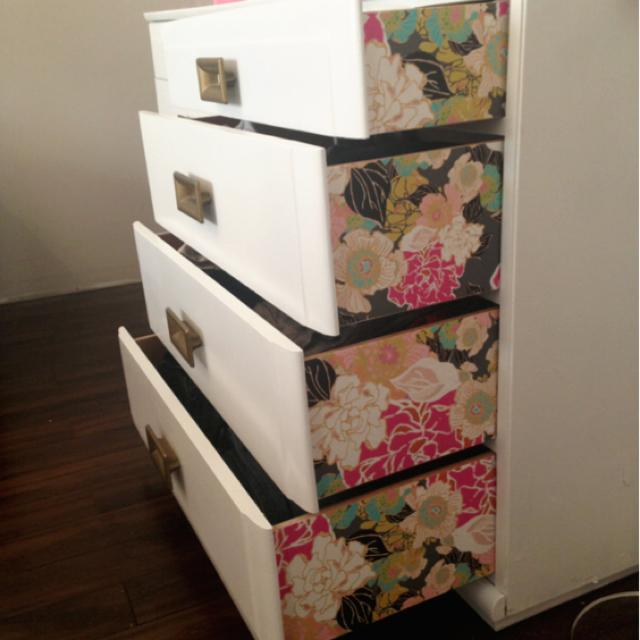 Under $25 furniture makeover--Budget friendly DIY dresser makeover using leftover wallpaper