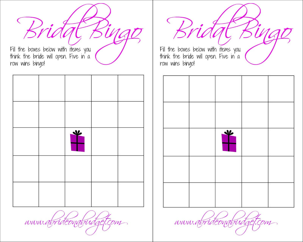 Clean image for printable bridal bingo