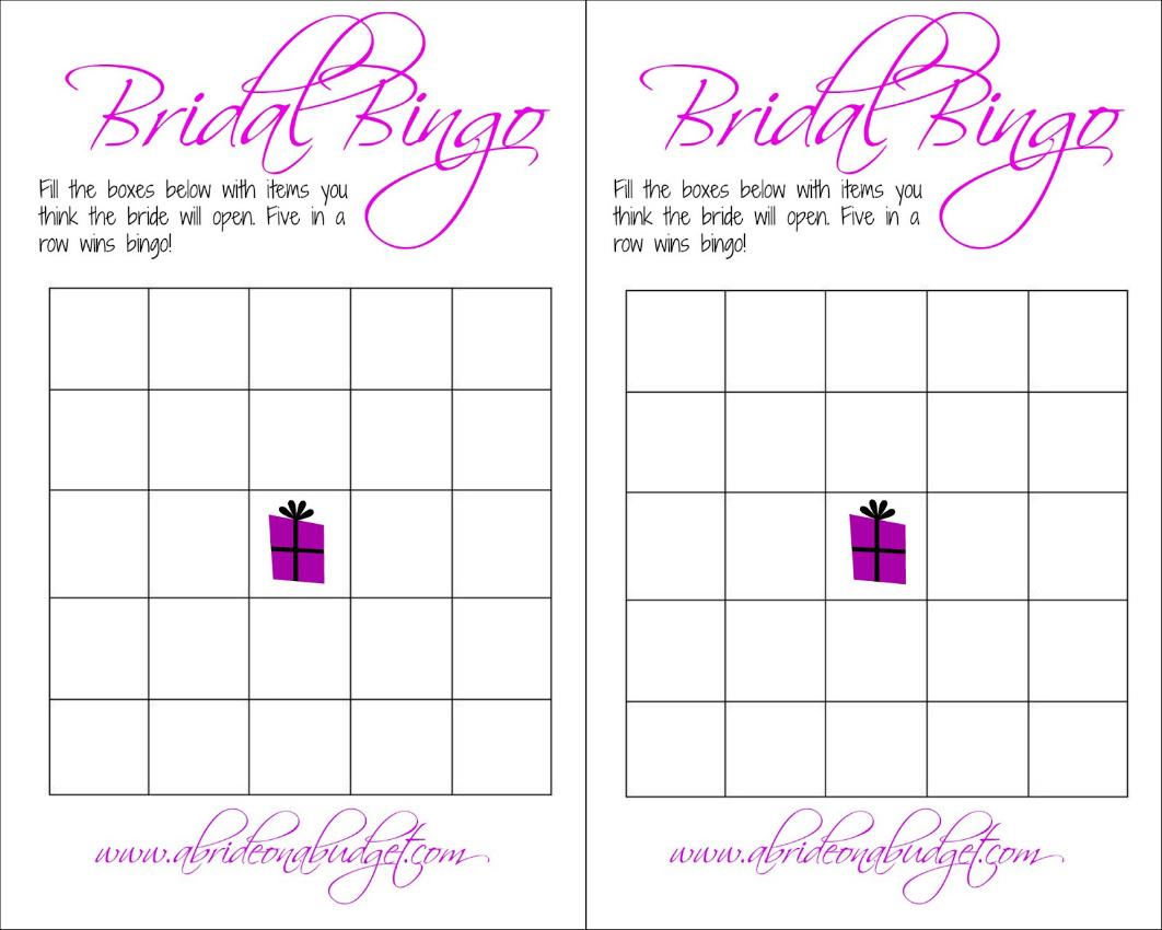 Bridal Bingo And A Free Printable